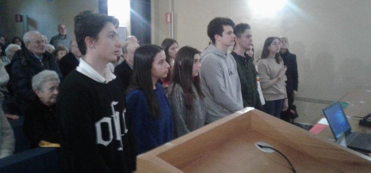 Giovani e meno uniti dall'Inno di Mameli per la Repubblica romana (15 febbraio 2019)