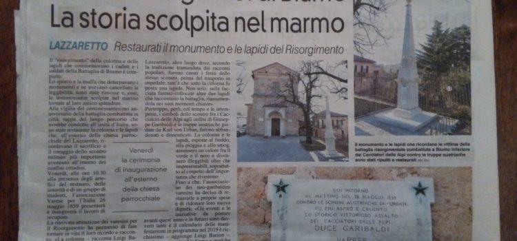 """Articolo su """"La Prealpina"""" sul restauro dei monumenti del Risorgimento"""