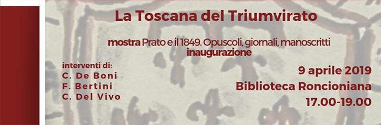 """Ciclo di incontri """"1849. La primavera dei popoli. Prato, l'Italia, l'Europa"""""""