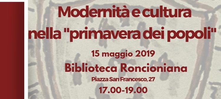 """15 Maggio, Prato – Modernità e cultura nella """"primavera dei popoli"""""""
