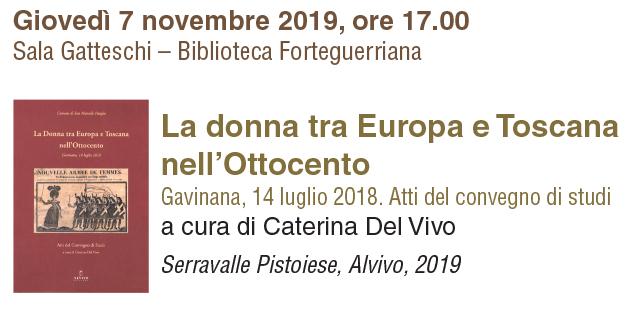"""7 novembre, Pistoia – Presentazione volume """"Donne Ottocento fra Europa e Toscana"""""""