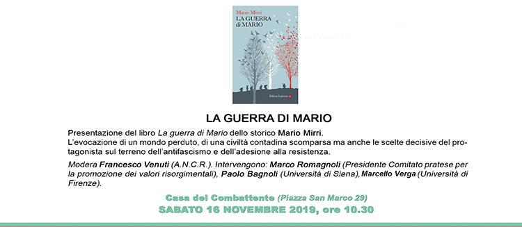 """16 novembre, Prato – Presentazione libro """"La guerra di Mario"""""""