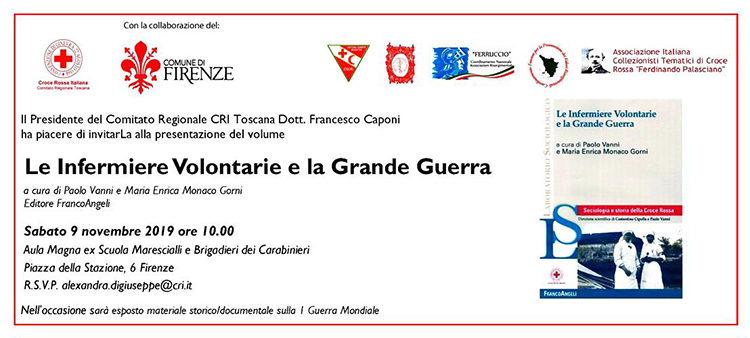 """9 novembre, Firenze –  Presentazione volume """"Le Infermiere Volontarie e la Grande Guerra"""""""