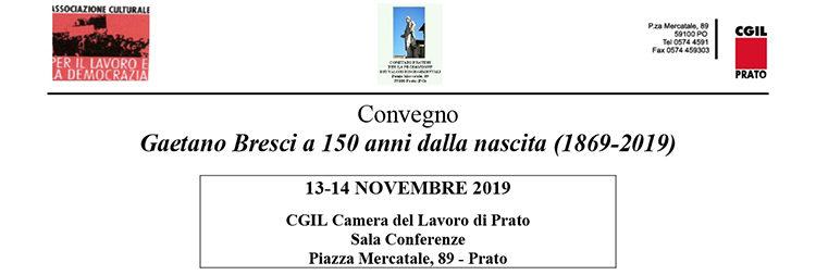 """13-14 novembre, Prato -Convegno """"Gaetano Bresci a 150 anni dalla nascita (1869-2019)"""""""