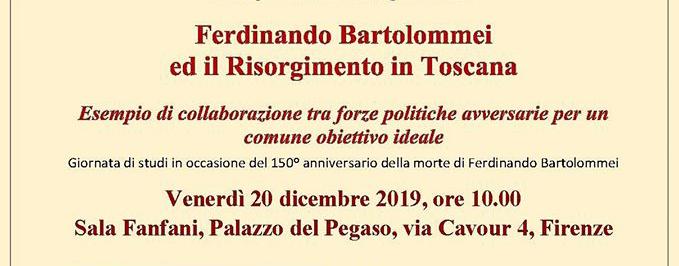 """20 dicembre, Firenze – Giornata di studi """"Ferdinando Bartolommei ed il Risorgimento in Toscana"""""""