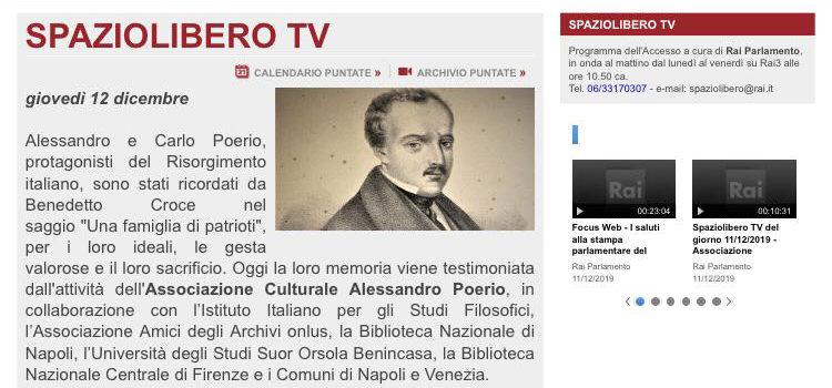La RAI dedica una puntata di Spazio Libero TV al Premio Poerio