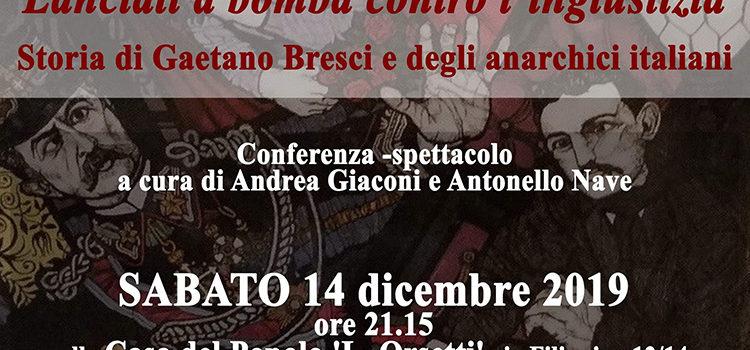 """14 dicembre, Prato – Conferenza-spettacolo """"Lanciati a bomba contro l'ingiustizia"""""""