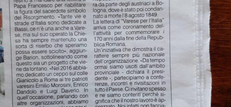 """Appello di """"Varese per l'Italia"""" – Riabilitare Don Ugo Bassi"""