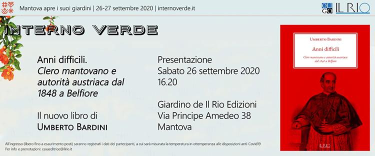 """26 settembre, Mantova – Presentazione libro """"Anni difficili"""" di Umberto Bardini"""