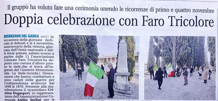"""Articolo GardaWeek riguardo iniziativa """"Faro Tricolore"""" 31 ottobre 2020"""