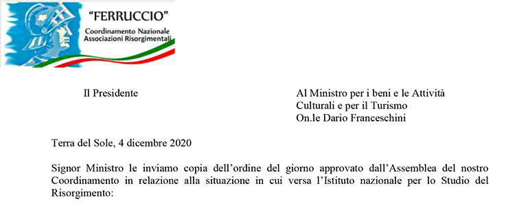 Ordine del giorno per l'Istituto nazionale 2020-11-27 (Lettera al Ministro dei Beni culturali)