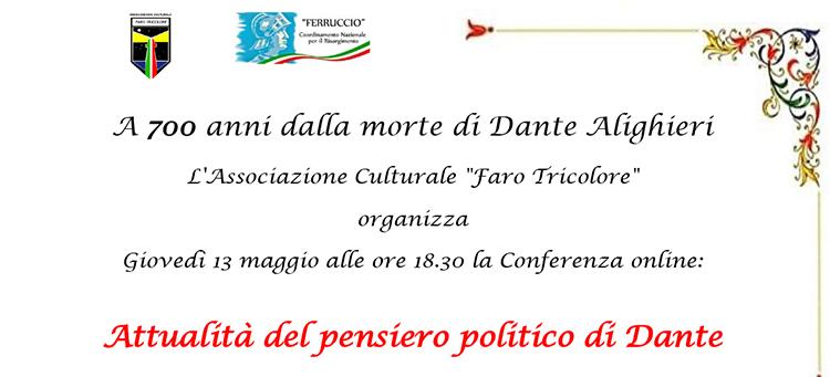"""13 maggio – Conferenza online """"Attualità del pensiero politico di Dante"""""""