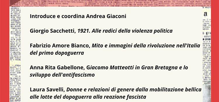 """24 settembre – Webinar """"Dal biennio rosso al biennio nero, Temi e prospettive del 1921"""""""