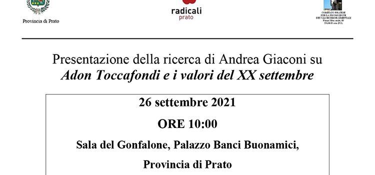 26 settembre, Prato – Presentazione della ricerca di Andrea Giaconi su Adon Toccafondi e i valori del XX settembre