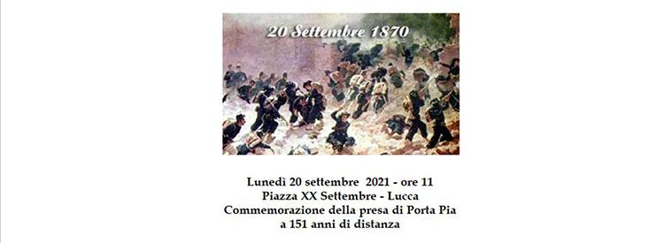 20 settembre, Lucca – Commemorazione della presa di Porta Pia