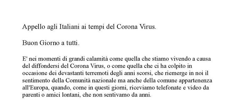 Appello agli Italiani ai tempi del Corona Virus