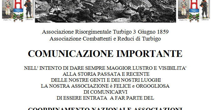 Adesione al coordinamento dell' Associazione Risorgimentale Turbigo 3 Giugno 1859