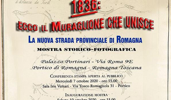 """7 ottobre, Portico di Romagna – Conferenza stampa presentazione mostra """"1836: ecco il muraglione che unisce"""