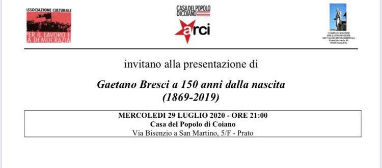 """29 luglio, Prato – Presentazione del volume """"Gaetano Bresci a 150 anni dalla nascita (1869-2019)"""
