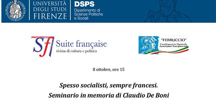 8 ottobre – Spesso socialisti, sempre francesi. Seminario in memoria di Claudio De Boni